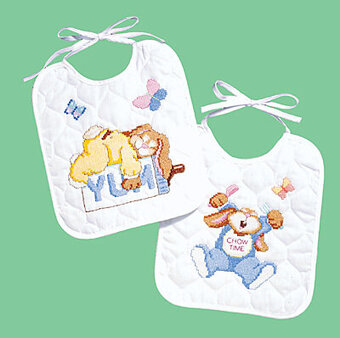 Sleepy Bunnies Bibs (2) - Stamped Cross Stitch Kit