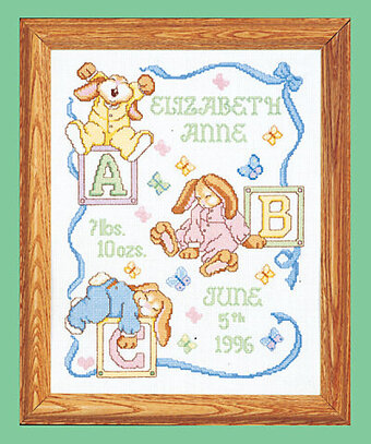 Sleepy Bunnies Counted Birth Announcement Cross Stitch Kit