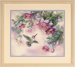 Hummingbird & Fuchsias - Stamped Cross Stitch Kit
