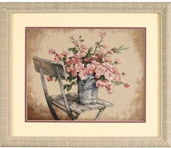 Roses on White Chair - Cross Stitch Kit
