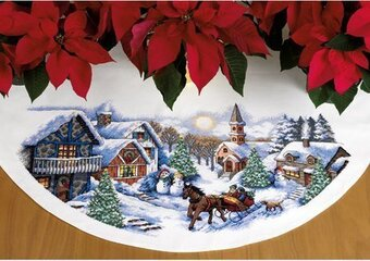 Sleigh Ride Tree Skirt - Cross Stitch Kit