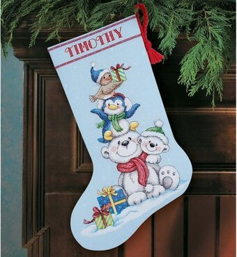 Stack Of Critters Christmas Stocking - Cross Stitch Kit