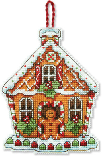 Gingerbread House Christmas Ornament - Cross Stitch Kit