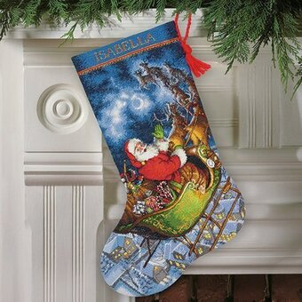 Santa's Flight Christmas Stocking - Cross Stitch Kit