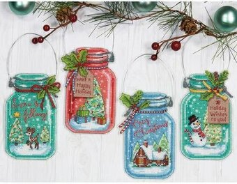 Christmas Jar Ornaments - Cross Stitch Kit