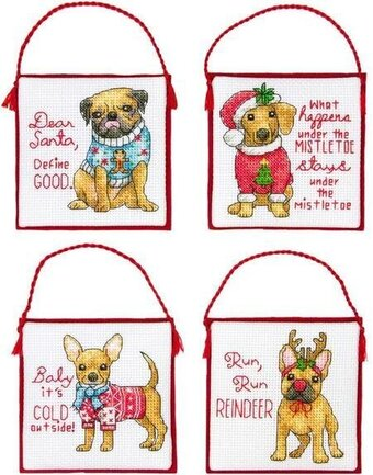 Christmas Pups Ornaments - Christmas Cross Stitch Kit