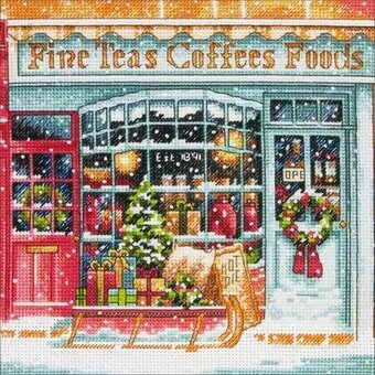 Coffee Shoppe - Gold Petite Christmas Cross Stitch Kit