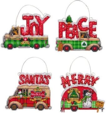 Holiday Truck Christmas Ornaments - Cross Stitch Kit