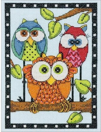 Owl Trio - Cross Stitch Kit