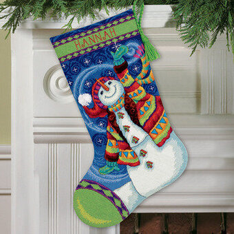 Happy Snowman Christmas Stocking - Needlepoint Kit