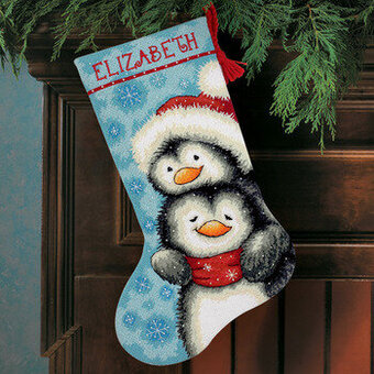 Hugging Penguins Christmas Stocking - Needlepoint Kit