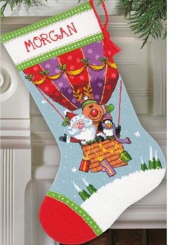 Santa's Balloon Ride Christmas Stocking - Needlepoint Kit