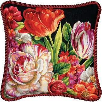 Bouquet on Black - Needlepoint Kit