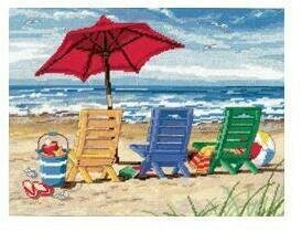 Beach Chair Trio - Needlepoint Kit