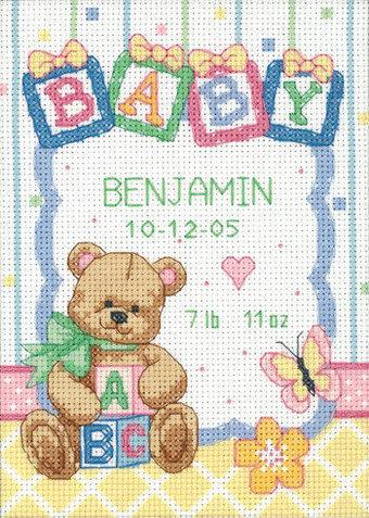 Baby Blocks Birth Record Cross Stitch Kit by Dimensions