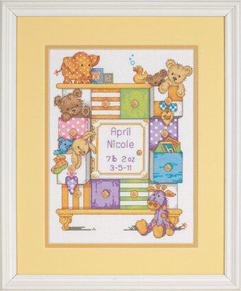 Baby Drawers Birth Record - Cross Stitch Kit