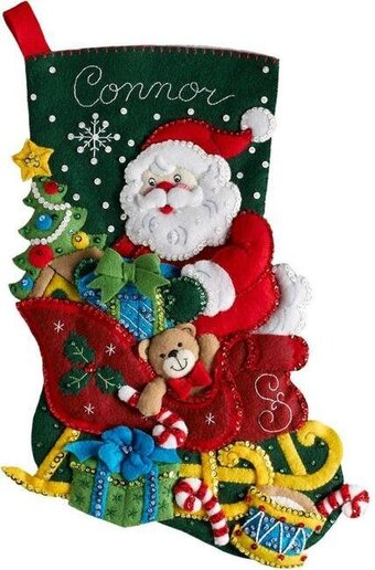 Christmas Stocking Kit.Bucilla Santa S Sleigh Christmas Stocking Felt Applique Kit