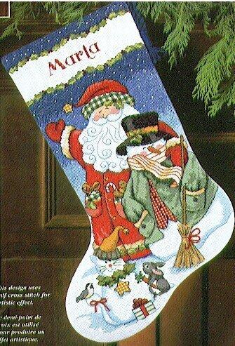 Dimensions Santa Amp Snowman Stocking Cross Stitch Kit
