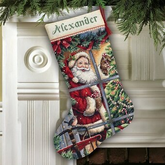 Candy Cane Santa Stocking - Cross Stitch Kit