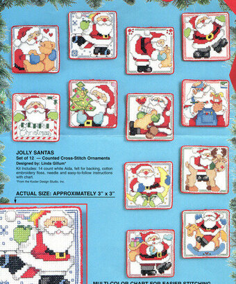 Jolly Santa Christmas Ornaments - Cross Stitch Pattern