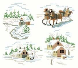 Winter Scene Christmas Ornaments - Cross Stitch Pattern
