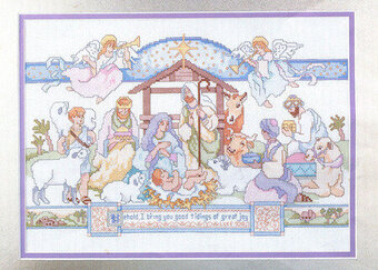 Nativity with Angels - Christmas Cross Stitch Pattern