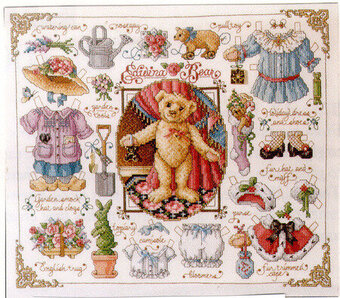 Teddy Bear Paper Doll - Cross Stitch Pattern