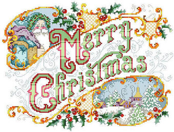 Merry Christmas Picture - Cross Stitch Pattern