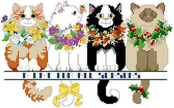 Cat For All Seasons, A - Cross Stitch Pattern