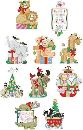 Noah's Friends Christmas Ornaments - Cross Stitch Pattern