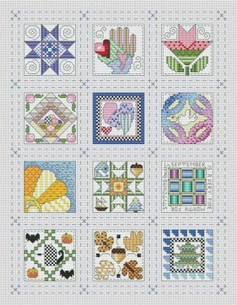 Quilt Block of the Month Sampler - Cross Stitch Pattern
