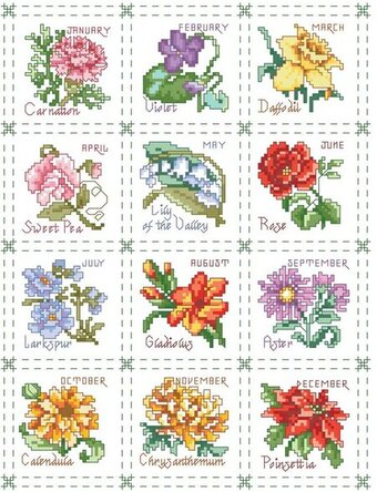 Flower of the Month Sampler - Cross Stitch Pattern