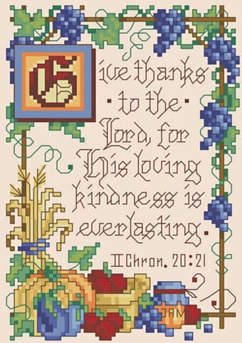 II Chronicles 20:21 - Christian Cross Stitch Pattern