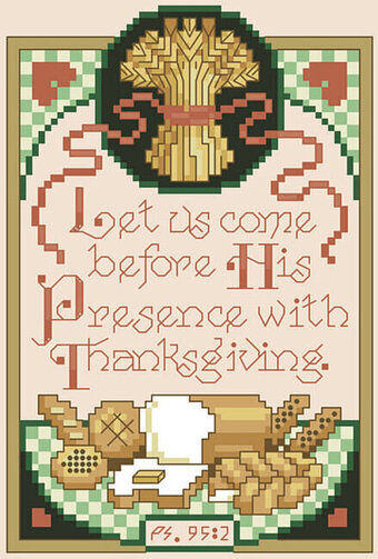 Psalm 95:2 - Christian Cross Stitch Pattern