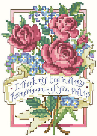 Philippians 1:3 - Christian Cross Stitch Pattern