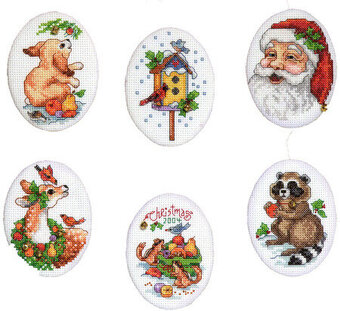 Animals and Santa Christmas Ornaments - Cross Stitch Pattern