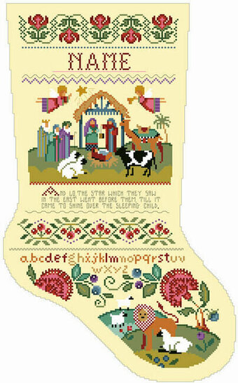 Nativity Christmas Stocking - Cross Stitch Pattern