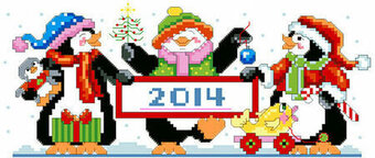 Penguin Parade - Christmas Cross Stitch Pattern