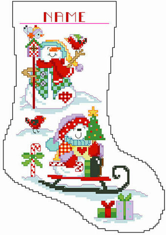 Snowmen Big Stitch Christmas Stocking - Cross Stitch Pattern