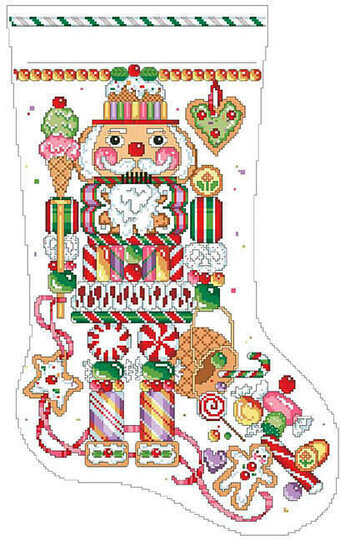 Candy Nutcracker Christmas Stocking - Cross Stitch Pattern