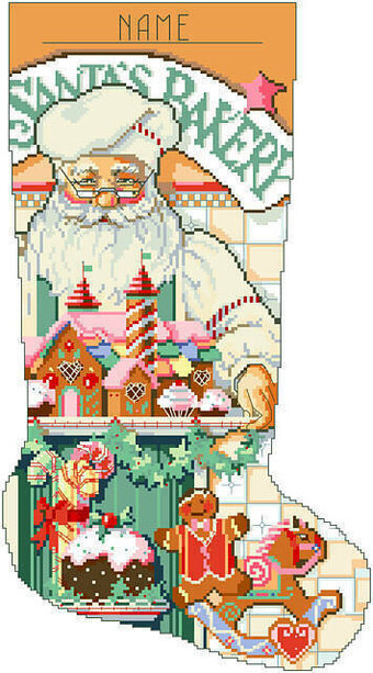 Baker Santa Christmas Stocking - Cross Stitch Pattern