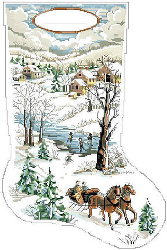Winter Scene Christmas Stocking - Cross Stitch Pattern