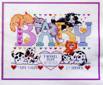 Puppies and Kittens Birth Record - Cross Stitch Pattern