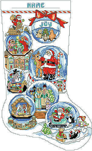 Snow Dome Christmas Stocking - Cross Stitch Pattern