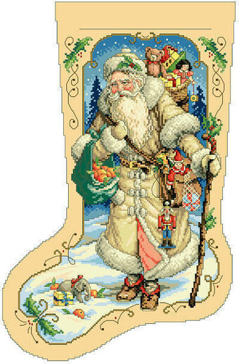 Father Winter Christmas Stocking - Cross Stitch Pattern