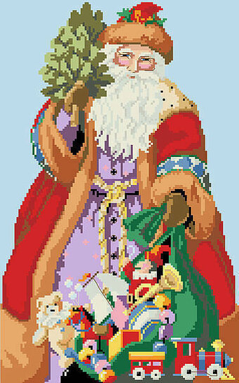 Jolly Christmas Santa and Toys - Cross Stitch Pattern