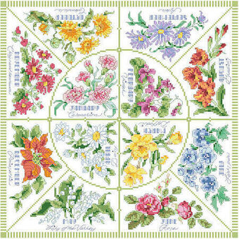 Flowers of the Month Pillow - Cross Stitch Pattern