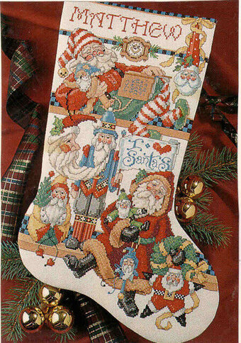 I Love Santas Christmas Stocking - Cross Stitch Pattern