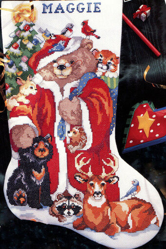 Teddy Bear Friends Christmas Stocking- Cross Stitch Pattern