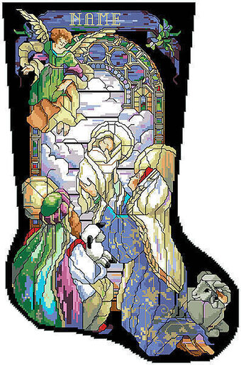 Tiffany Nativity Christmas Stocking - Cross Stitch Pattern